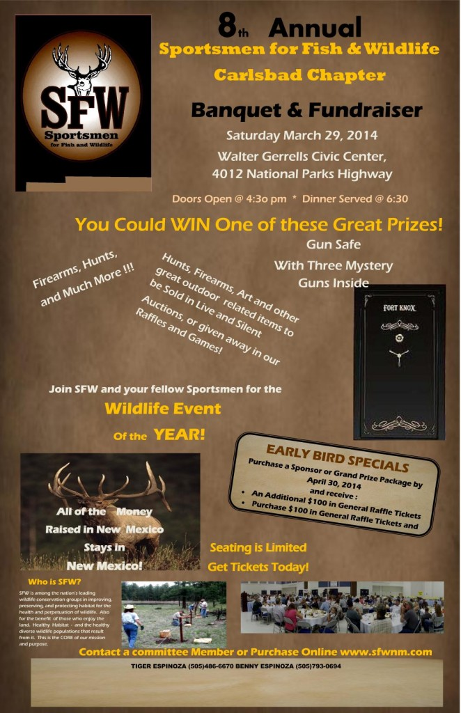 8th Annual Sportsmen for Fish & Wildlife Carlsbad Chapter Banquet & Fundraiser @ Walter Gerrells Civic Center | Carlsbad | New Mexico | United States